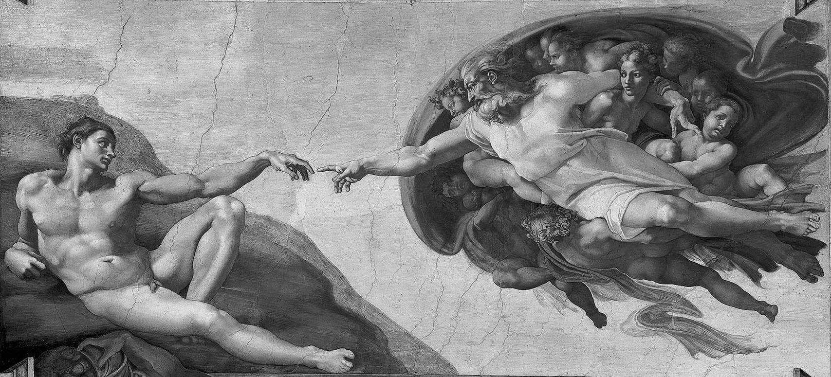Yaweh giving life to Adam.
